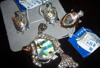 Комплект серебро 925 черепахи галиотис кулон рыба