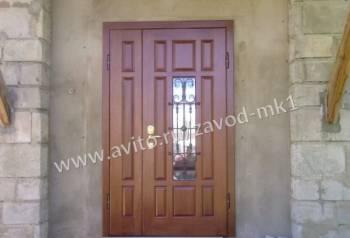 Металлическая дверь мдф+ стекопакет+ ковка