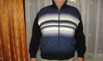 Джемпер мужской на молнии р.56-58, мужская куртка с капюшоном из прессованной кожи