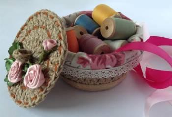 Плетеная корзинка из джута ручной работы +