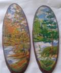 Картины из каменной крошки на срезе дерева, Уссурийск