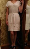 Платье с юбкой ниже колена клеш, платье вязаное ажурное хлопок 46 размер новое, Дубовое