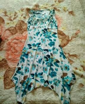 Сарафан, платье из синего шелка фасон