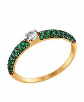 Золотое кольцо с фианитами Sokolov новое, Большой Камень, цена: 4 500р.