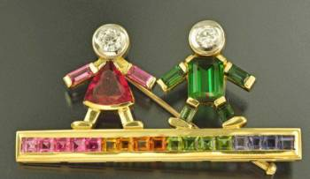 Брошь с бриллиантами и турмалинами, золото 585 пр