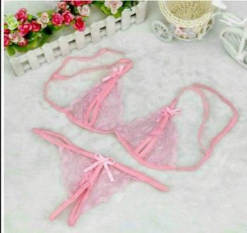Новый комплект белья розовый, детали кроя простого платья