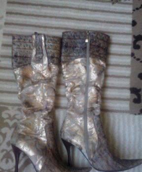 Сапоги осенние, бежевые туфли на скрытой платформе, Золотухино, цена: 500р.
