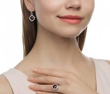 Комплект: Серебряные серьги+ кольцо с гранатом, Кунгур, цена: 2 590р.
