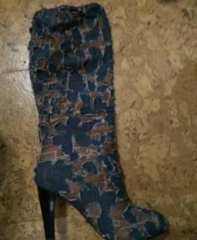 Сапоги женские зимние россия, новые сапоги деми, текстиль, Мари-Турек, цена: 350р.