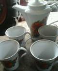 Чайник белый и 4 кружки к нему, Сафоново