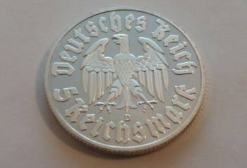 Мартин Лютер номиналом 5 рейхсмарок 1933 года, Озерск, цена: не указана