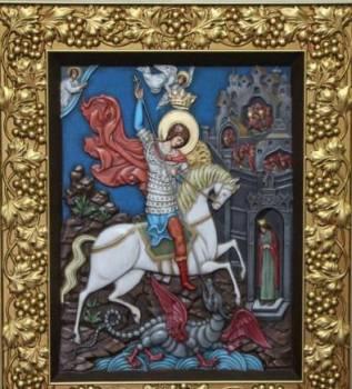 Икона резная Георгий Победоносец (390x470x40 мм)