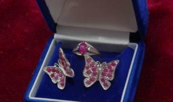 Сапфир звездчатый-рубин. Cерьги, кольцо 14К(585 пр), Мишкино, цена: 14 500р.