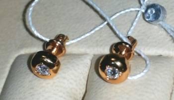Серьги-пусеты золотые с бриллиантами (Россия)