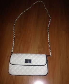 Шотландка платье длинное, клатч сумочка белая модная нарядная на длинной кра