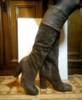 Натуральные замшевые сапоги, Италия, ботильоны на толстой подошве и каблуке, Гуково
