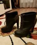 Ботинки демисезонные, черные замшевые туфли на толстом каблуке купить, Тольятти