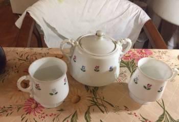 Сахарница (12см) и две чайные чашки (8см ), фарфор