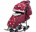 Санки-коляска Pikate 5B Люкс, бордовый, Кондопога