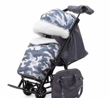 Санки-коляска Pikate Compact Military 2018 Серый