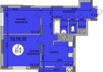 2-к квартира, 58 м², 11/21 эт