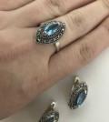 Серебряные серьги и кольцо 925 с натуральными камн, Бронницы