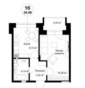 1-к квартира, 33 м², 2/3 эт