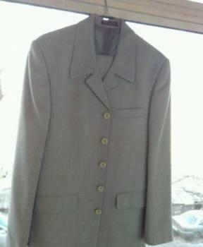 Костюм мужской новый р.44, светло-серый с рубашкой, новые бренды спортивной одежды