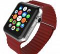 Кожаный блочный ремешок Apple Watch 38mm, красный, Черняховск