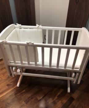 Люлька-кроватка mothercare+матрас+комплект постель