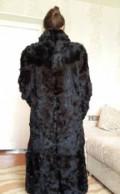 Платье темно зеленое обтягивающее, шуба натуральная из козлика чёрная, Ерзовка