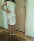 Платье белое, длинное платье с кружевом внизу, Выкса
