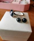 Набор кольцо и серьги пандора с синим кристаллом, Екатериновка