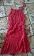 Красное платье с эко кожей, платья, Сургут