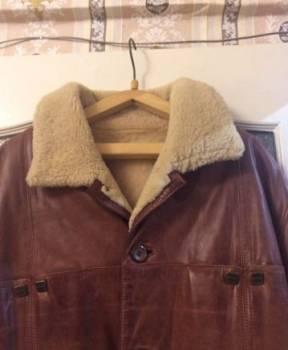 Дубленка кожаная, куртка зимняя мужская короткая милитари на резинке купить