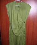 Платье в пол с разрезом на спине и ноге, 07 Платье зеленое комфортное, Москва