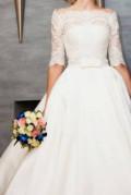 Свадебное платье naviblue, платье 933. т-синий. гипюр с позолотой на атласе, Исаклы