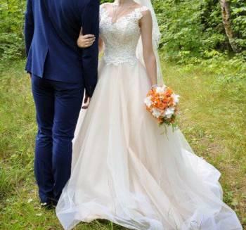 Свадебное платье, платья с французским кружевом на рукавах