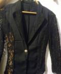 Пиджачок стрейчевый новый с гипюровыми вставками, фасон платья скрывающий живот для фигуры яблоко, Казань