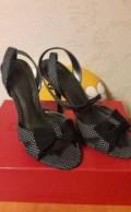 Дешевая обувь на высоком каблуке, босоножки Calipso текстиль/кожа, Городищи