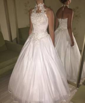 Платье халат гипюр, свадебное платье