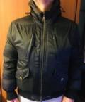 Синий пуховик с мехом чернобурки, пуховик Calvin Klein, Деденево