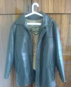 Натуральная кожаная зимняя куртка, кожаный пуховик мужской цена