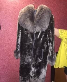 Платье с рукавом 3 четверти, шуба мутон, рукава и воротник писец
