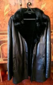 Куртки мужские с мехом енота, коженная куртка