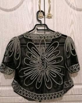 Накидка, асос платье миди серое