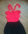 Красно-черное шефоновое платье, купить женскую одежду больших размеров интернет магазин в wildberries, Хабаровск