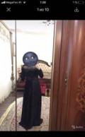 Платье с длинным рукавом с кружевом кроше черное, платье, Муги