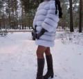 Платье трапеция с гипюром, шубка из финского песца, Клинцы
