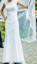 Свадебное платье, шуба из норки цвета графит купить, Балахоновское